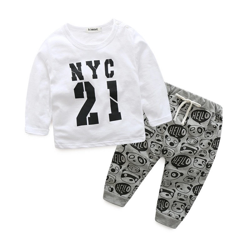 Casual Baby Tops Pants Printed Outfit Clothes - bump, baby and beyond