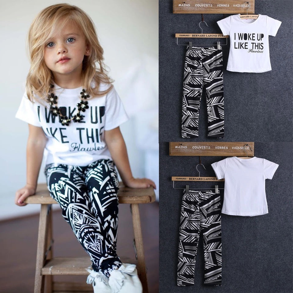 Toddler Girl Zebra Stripe White T Shirt Pant Outfit - bump, baby and beyond