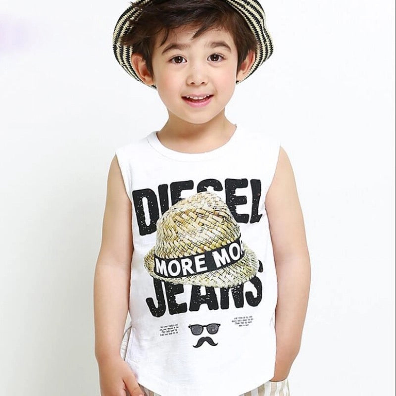 Boys Vest Diesel Jeans Sleeveless T Shirt Printed Clothes - bump, baby and beyond