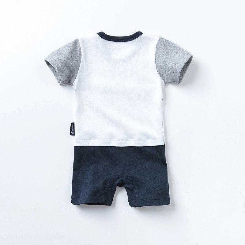 Newborn Baby Boys Romper Dude Cotton Short Sleeve Clothes - bump, baby and beyond