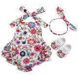 Summer baby girls floral print rosette romper clothes - bump, baby and beyond