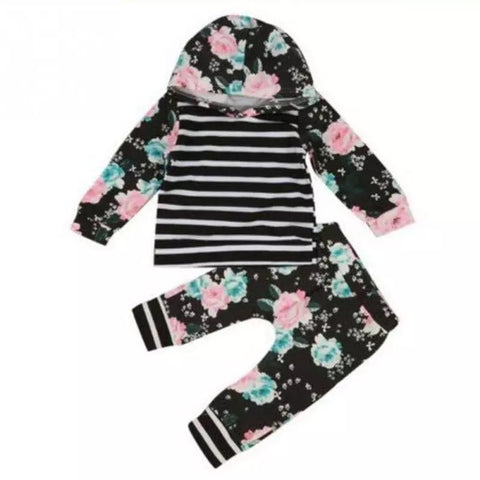 Baby girls hooded black stripe flower tops sweatshirt pants clothes - bump, baby and beyond