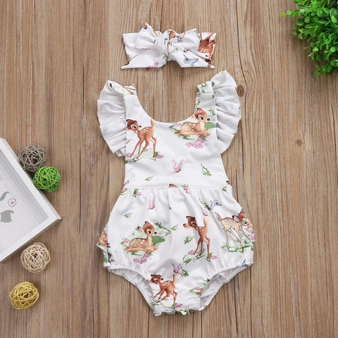 New fashion baby girls deer romper sleeveless with headband - bump, baby and beyond
