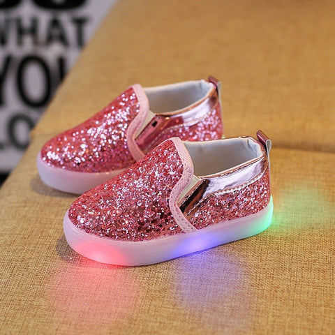 Fashionable leather girls bling led sneakers shoes - bump, baby and beyond