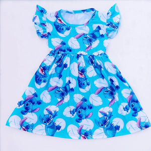 Summer Baby Girl Blue Stitch Milk Silk Dress - bump, baby and beyond