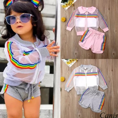 Summer Striped Girls Colorful Mesh Coat Outfit - bump, baby and beyond
