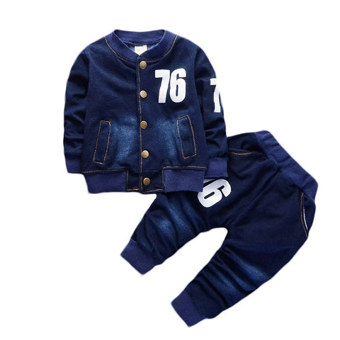 Sets of unisex toddler baby denim jean coat+pant clothes - bump, baby and beyond