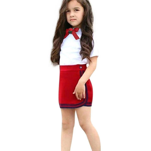Newborn Kid Bow Tie Tops Mini Skirt Set Clothes - bump, baby and beyond