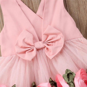 Toddler Baby Girls Flower V Neck Tulle Bow Dress - bump, baby and beyond