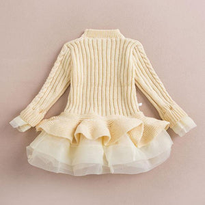 Warm Knitted Chiffon Girl Party Dress - bump, baby and beyond
