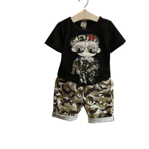 boys short sleeve t-shirt suits camouflage shorts clothing - bump, baby and beyond