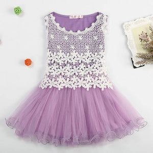 Summer new lace flower girl dresses hollow mesh kid clothes - bump, baby and beyond