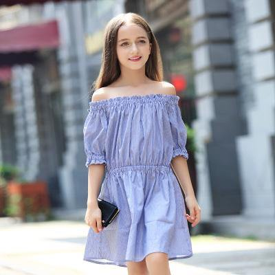 Teen Girls Off Shoulder Striped Dress - bump, baby and beyond