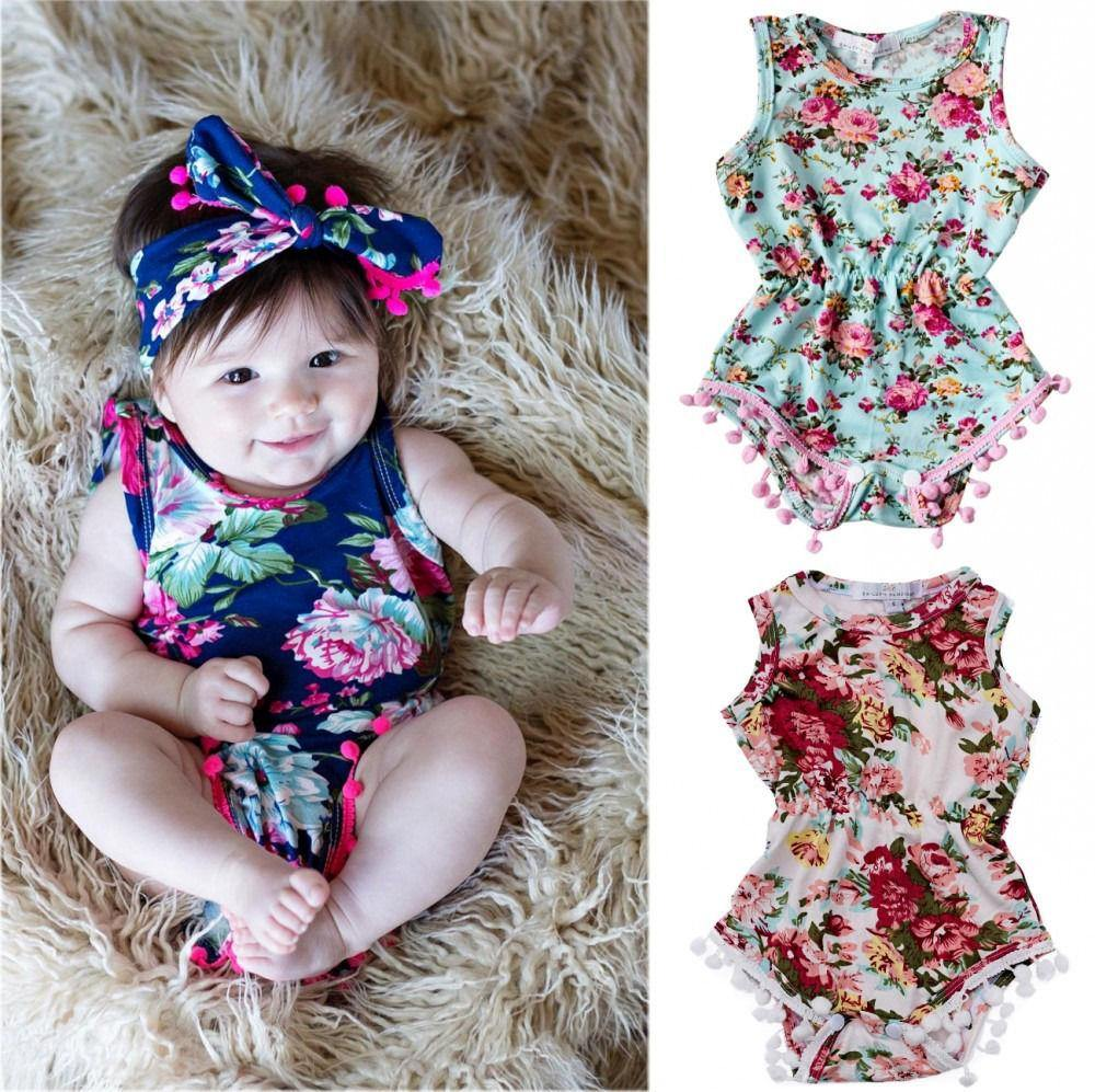 Newborn Baby Girls Floral Romper Jumpsuit Clothes - bump, baby and beyond
