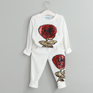 Beautiful girls wool long sleeve rose floral embroidered clothes - bump, baby and beyond