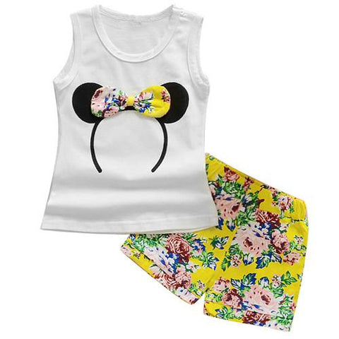 girls summer minnie vest top + bowtie shorts pants clothes - bump, baby and beyond