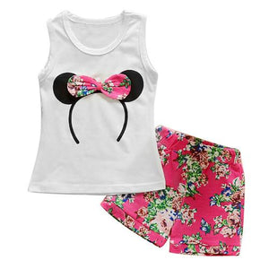 Girls Summer Minnie Vest Top Bowtie Shorts Pants Clothes - bump, baby and beyond