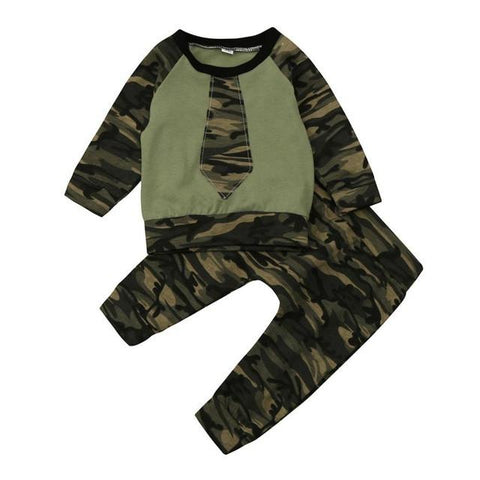 Newborn baby boy girl cool design camouflage tops+pants tracksuit - bump, baby and beyond