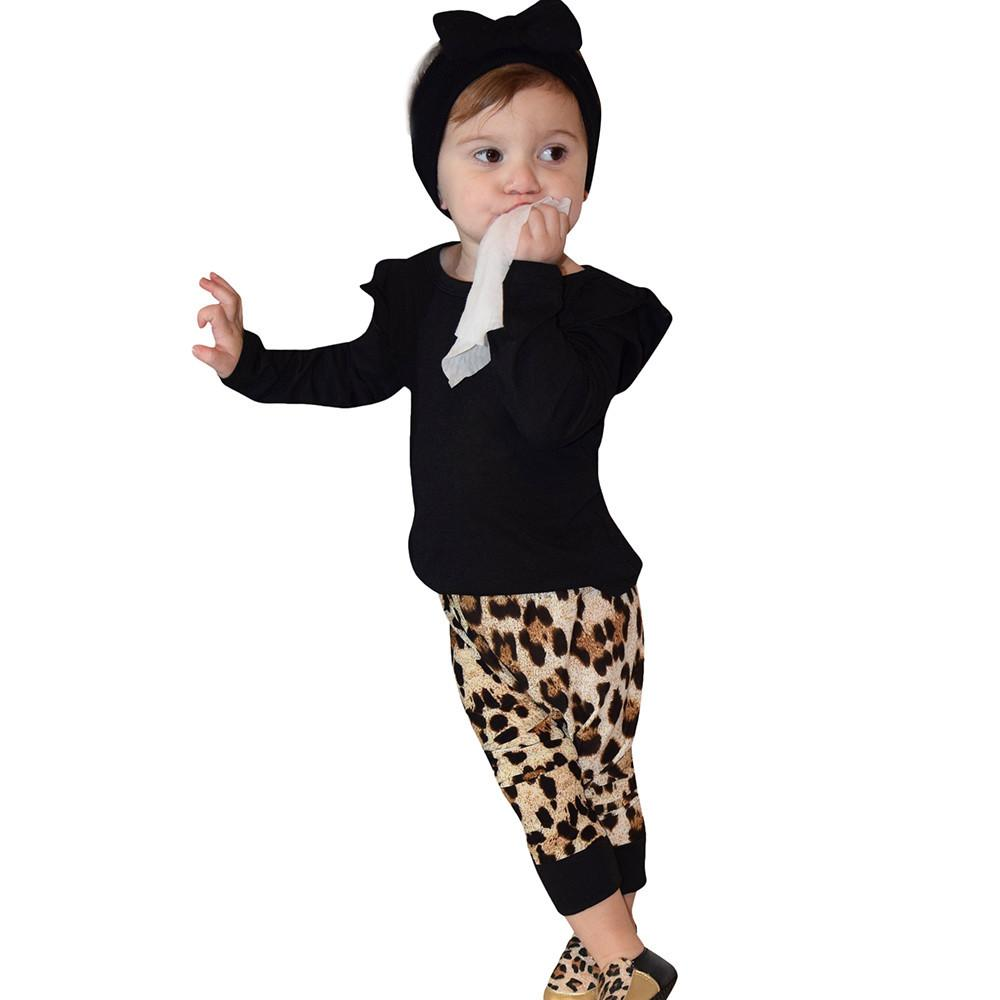 Cute Leopard O-Neck Long Sleeve Tops Pants Clothes - bump, baby and beyond