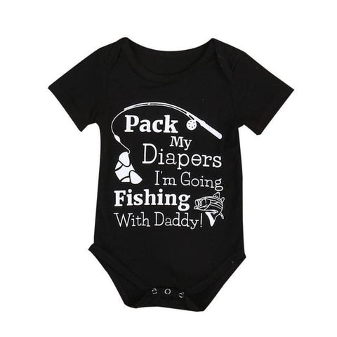 Baby Boys Girls Pack My Diapers I'M Going Fishing With Dad Romper Clothes - bump, baby and beyond