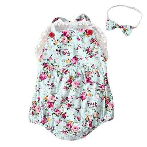Rose floral printed baby romper vintage baby girls playsuit clothes - bump, baby and beyond