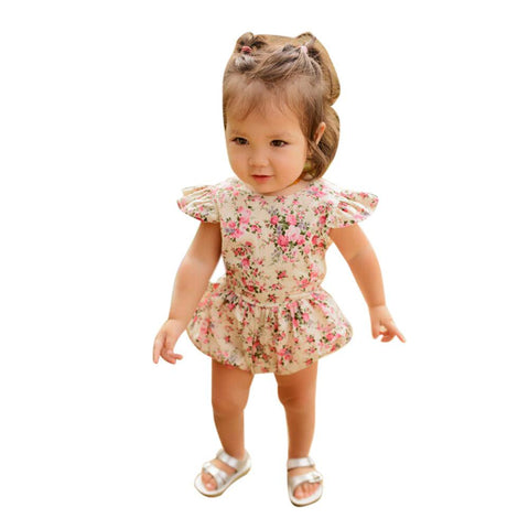 Baby Girl Romper Flower Floral Ruffle Summer Clothes Jumpsuit - bump, baby and beyond