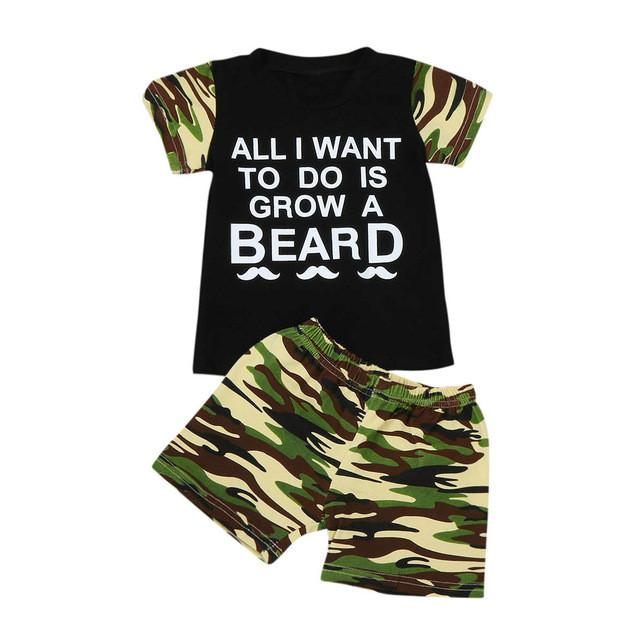 Baby Boy Short Sleeve T-Shirt Grow A Beard Camouflage Clothes - bump, baby and beyond