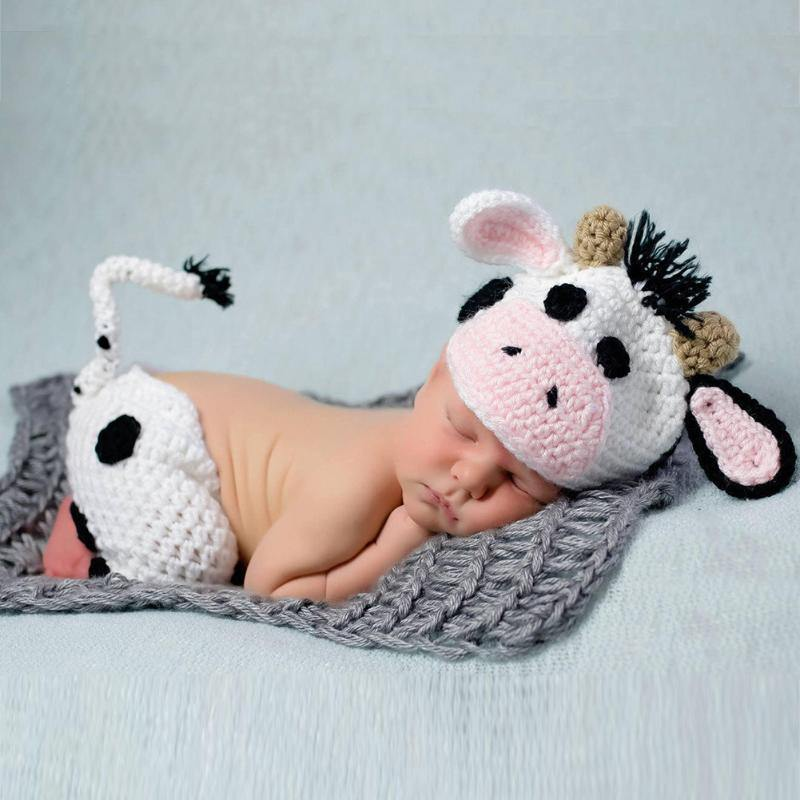 Newborn Baby Cow Crochet Knit Clothing Outfit - bump, baby and beyond