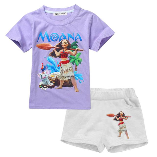 Summer Girls Moana Short Elsa Ice Cream Sleeve Outfit Clothes - bump, baby and beyond