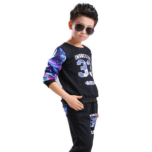 2pcs of kid boys tops printed cotton tracksuit clothes - bump, baby and beyond