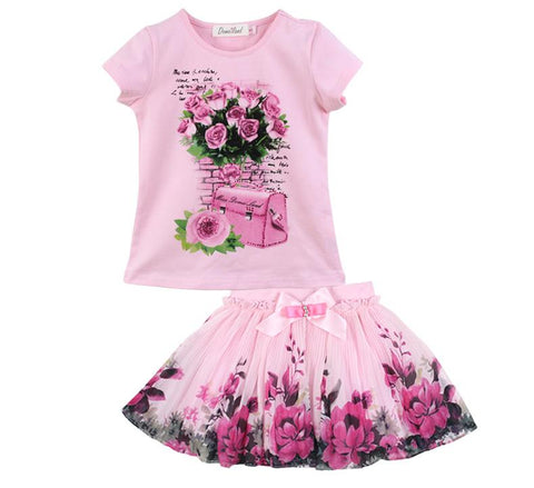 summer kid girl floral short sleeve cotton skirt clothes - bump, baby and beyond