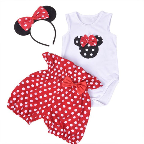 3 Pcs Summer Tops Baby Girl Minnie Heart Romper Headband Clothes - bump, baby and beyond
