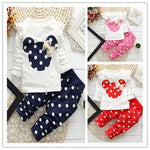 Cute Girls Set Mouse Bow Top T Shirt Leggings Pant Clothes - bump, baby and beyond
