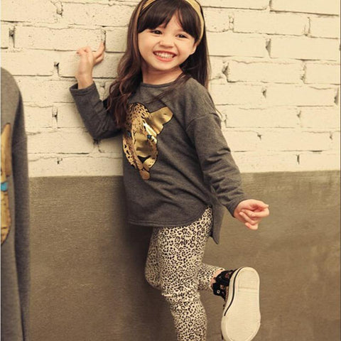 Full Girl Short Sleeve T Shirt Leopard Leggings Clothes - bump, baby and beyond