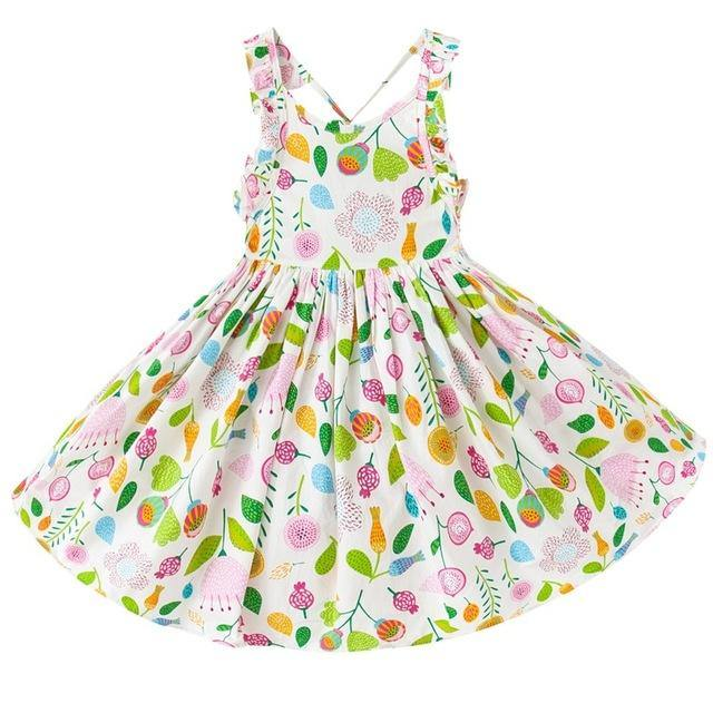 Summer Baby Girls Backless Vintage Floral Party Dress - bump, baby and beyond