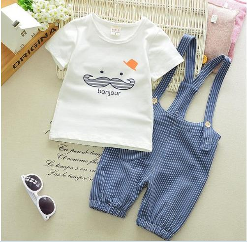 Casual Baby Boys Beard T Shirt Stripe Straps Short Clothes - bump, baby and beyond