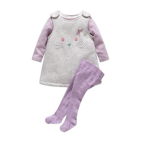 Baby Girl Thick Cotton Cat Dress Stripe Romper Pantyhose Clothes - bump, baby and beyond