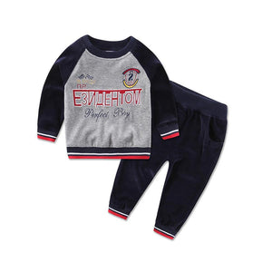 Long Sleeve Baby Boys Girls O Neck Blouse Velvet Sport Suit Pants - bump, baby and beyond