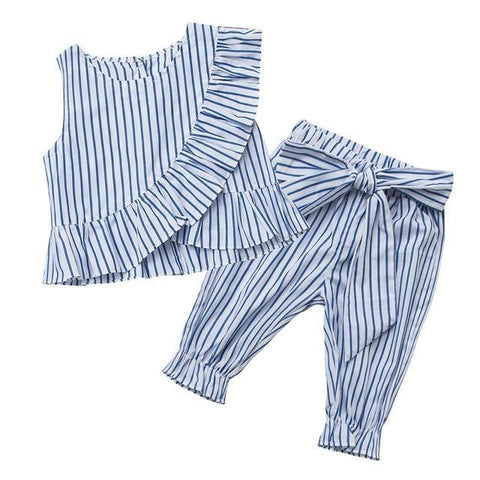 Fashion Girls Striped Ruff Sleeveless Shirt Pants Clothes - bump, baby and beyond