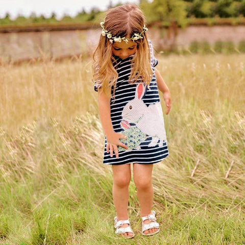 Short Sleeve Striped Rabbit Animal Sunflower Embroidered Clothes Dress - bump, baby and beyond