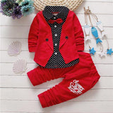 Spring kids boys button letter bow suit jacket +pants clothes - bump, baby and beyond