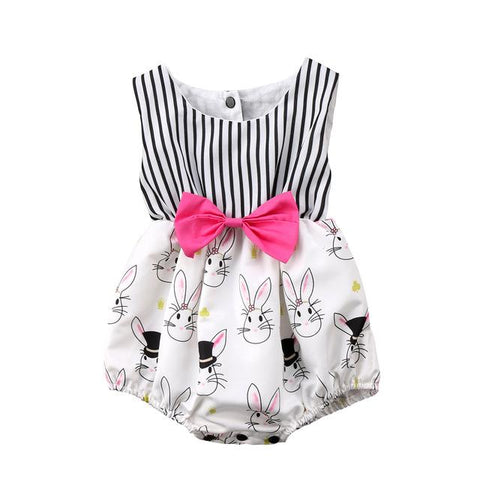 beautiful baby girls striped romper sleeveless Easter outfit - bump, baby and beyond