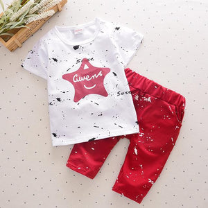 Casual Toddler boys Star Printed Kids Shorts Suits Clothes - bump, baby and beyond