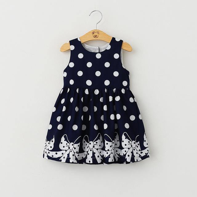 Princess Baby Kids Girls Sleeveless Polka Dot Bow Ball Gown Dress Clothes - bump, baby and beyond