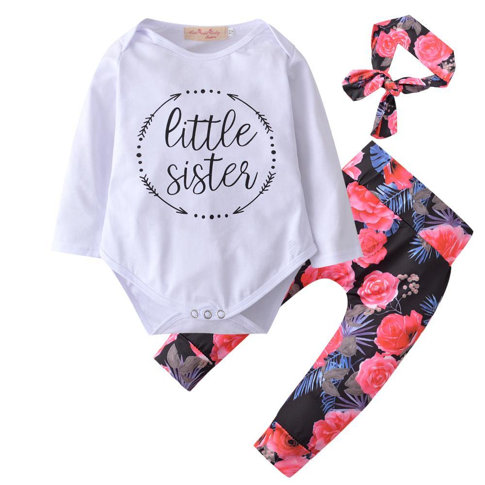 Cute Little Sister Floral Romper Pants Headband Infant Clothes - bump, baby and beyond