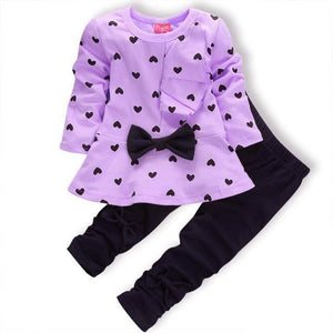 New Girls Style Bow Knot Long Sleeve Striped Leggings Clothes - bump, baby and beyond