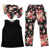 Floral Girls Top Sleeveless Outfit Headband Pant Set Clothes - bump, baby and beyond