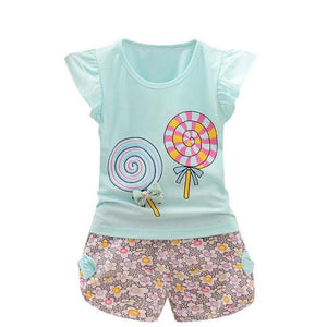Toddler Baby Girls Lollipop T-shirt Tops Short Pants Outfit Outerwear Clothes - bump, baby and beyond