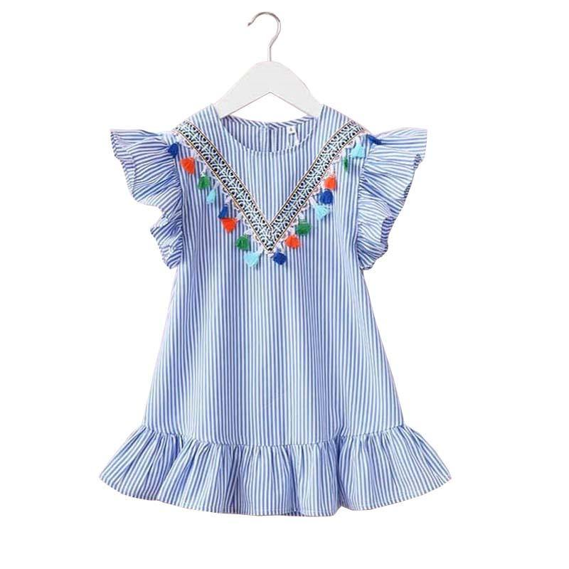 Summer Striped Blue Knee Cotton Girls Dress - bump, baby and beyond