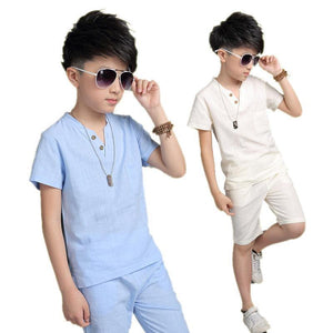 Short Sleeve Boys Sets Cotton T-shirt Short Pants Clothes - bump, baby and beyond